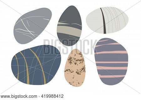 Beach Pebbles Shape Set. Hand Drawn Various Shapes. Modern Illustration In Vector. Different Shapes