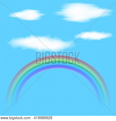 Translucent Clouds And Rainbow Mockup Vector Illustration