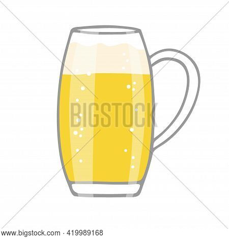 Beer Mug Isolated On White Background. Beer In Glass Mug With Foam And Bubbles. Oktoberfest Backgrou