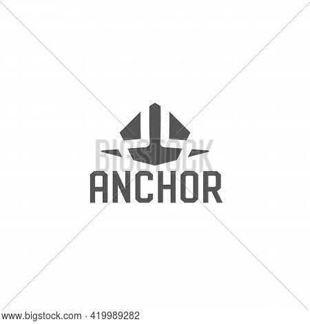 Anchor Logo. Vector Geometric Emblem. Abstract Heavy Anchor Sign For Boat Service Or Ship Rental Age
