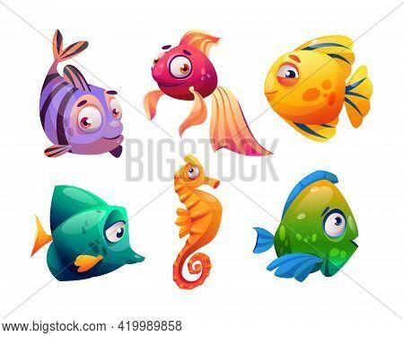 Fish And Seahorses Isolated Cartoon Characters Set. Vector Marine Underwater Animals, Aquarium Tank