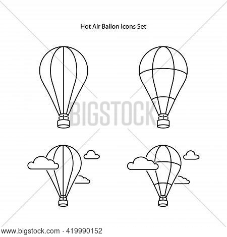 Hot Air Balloon Icons Set Isolated On White Background From Tourism Collection. Hot Air Balloon Icon