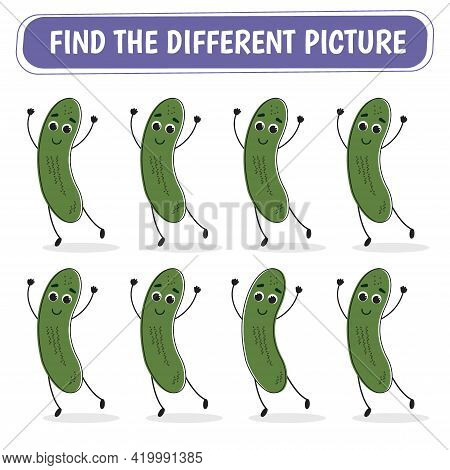 Game For Kids. Find A Different Cucumber Among The Same Ones. Vector Illustration