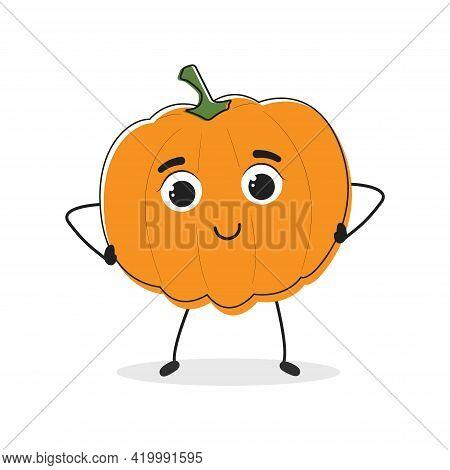 Pumpkin. Cartoon Drawing Style. Cute Funny Vegetable. Vector Illustration For Menu, Packaging, Logos