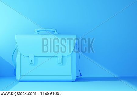 Plain Blue Briefcase With Beam Of Light. 3d Rendering