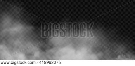 White Fog Or Smoke 3d Effect On Transparent Background. Vector Cloud, Mist Cloudiness, Vapor Condens