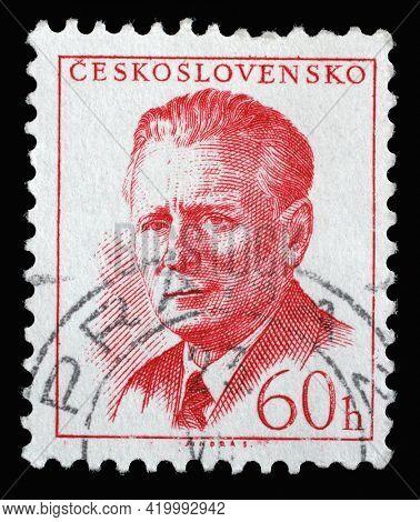 ZAGREB, CROATIA - SEPTEMBER 18, 2014: Stamp printed in Czechoslovakia shows a portrait of President Antonin Novotny, circa 1958