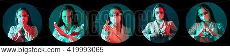 Medic Portrait Collage. Healthcare Specialist. Lab Technician Headshot. Round Frame Avatar Of Gratef