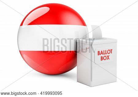Ballot Box With Austrian Flag. Election In Austria. 3d Rendering Isolated On White Background