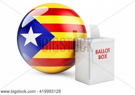 Ballot Box With Catalan Flag. Election In Catalonia. 3d Rendering Isolated On White Background