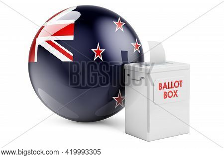 Ballot Box With New Zealand Flag. Election In New Zealand. 3d Rendering Isolated On White Background
