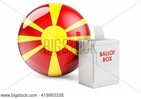 Ballot Box With Macedonian Flag. Election In Macedonia. 3d Rendering Isolated On White Background