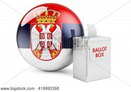 Ballot Box With Serbian Flag. Election In Serbia. 3d Rendering Isolated On White Background