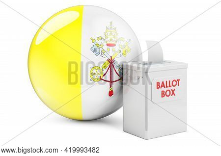 Ballot Box With Vatican Flag. Election In Vatican. 3d Rendering Isolated On White Background