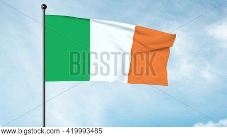 3d Illustration Of The National Flag Of Ireland, 'the Tricolour' Irish Tricolour, Is The National Fl