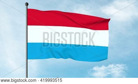 3d Illustration Of The Flag Of Luxembourg Is An Equal Horizontal Stripes Tricolour Of Red, White And