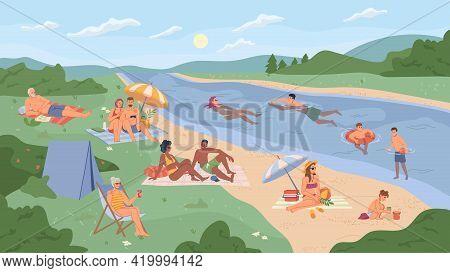 People Resting On River Beach Flat Cartoon Vector Illustration. Vector Summer Vacation On Bank Of La