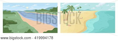 Scenery Landscape Of River Bank Or Seaside Summer Beach, Flat Cartoon Backgrounds Set. Vector Green