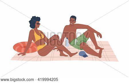 Summer Beach Vacation, Afro American Couple Sitting On Blanket And Sunbathing, Flat Cartoon Vector I
