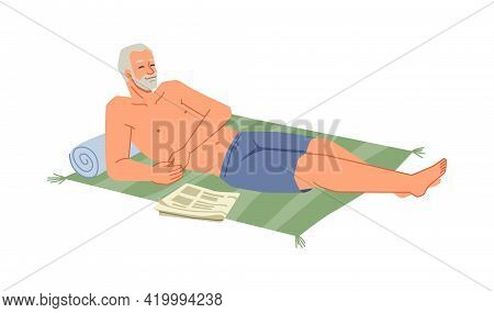 Bearded Senior Man Sunbathing On Blanket At Seashore Isolated Flat Cartoon Character Relaxing On Bea