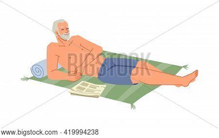 Bearded Senior Man Sunbathing On Blanket At Seashore Isolated Flat Cartoon Character Relaxing On Bea