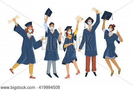 Happy Graduates In Protective Medical Masks Celebrate Graduation During Coronavirus Quarantine Isola