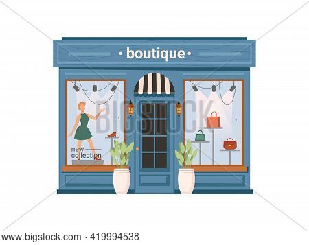Boutique Shop Facade Exterior Isolated Clothing Store, Cartoon Building. Vector Window With Mannequi