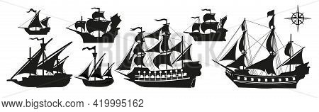 Pirate Boats And Old Different Wooden Ships With Fluttering Flags. Vector Set Old Shipping Sails Tra