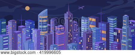 Modern Metropolis At Night City Panorama, Skyscrapers, Real Estate Houses Landscape Flat Cartoon Vec
