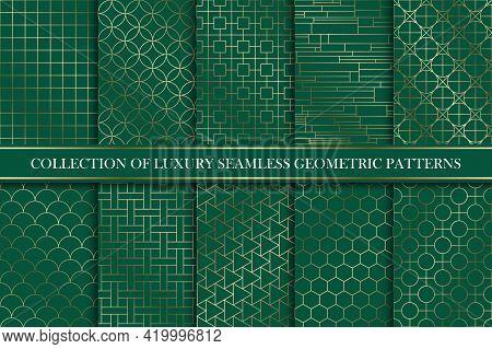 Art Deco Gold Seamless Ornamental Patterns - Geometric Rich Design. Tile Oriental Luxury Backgrounds