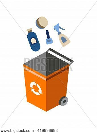 Garbage Can For Sorting. Recycling Elements. Colored Waste Bin With Organic Trash. Separation Of Was