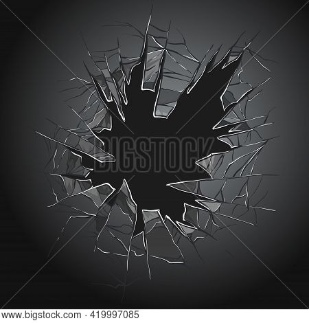 Broken Glass. Cracked Window. Texture Of Realistic Destruction Hole In Transparent Damaged Glass. Ve