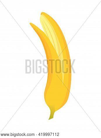 Cartoon Banana. Tropical Fruit, Banana Snack Or Vegetarian Nutrition. Fruit And Ripe Sweet Food. Yel