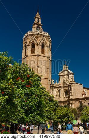 Valencia, Spain, March 14, 2021: Well Known Micalet Belltower Built In 1381 By Andreu Julia, Valenci