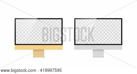 Devices With Transparent Screen. Monitor Template. Device Mockup. Vector Illustration