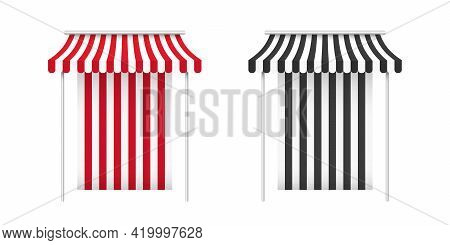 Red And Black Awnings. Striped Awning. Tent Sun Shade For Market On White Background. Vector Illustr