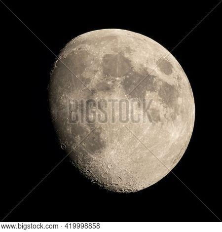 Incomplete Moon In The Dark Night Sky
