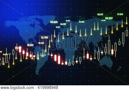 World Stock Market Concept With Forex Market Growing Candlestick And Indicators On Dark Background W