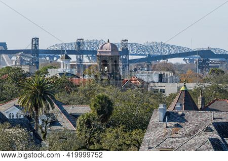 New Orleans, La - January 2: Rooftop View Of Uptown Neighborhood With Huey Long Bridge In Far Backgr