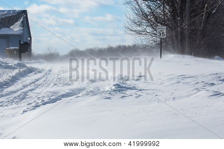 Blowing, Drifting Snow Across A Country Road
