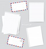 Paper designs: Envelope and various papers, ready for your message. Vector illustration. poster
