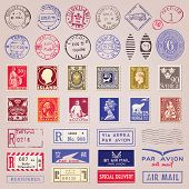 Set of 38 vintage postage stamps marks and stickers from countries all over the world vector poster