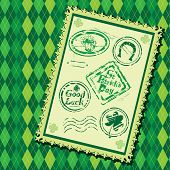 Set of Green grunge rubber stamps with Beer mug shamrock horseshoe and texts St. Patrick's Day Good Luck. On checked seamless background. poster