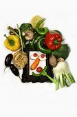 Arrangement in the form of a ridiculous muzzle in a framework with vegetables poster