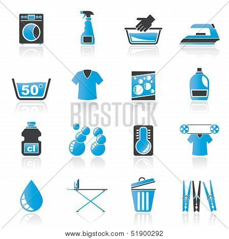 Washing machine and laundry icons - vector icon set poster