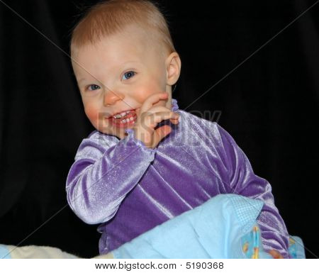Very Cute Baby With Her Blanket