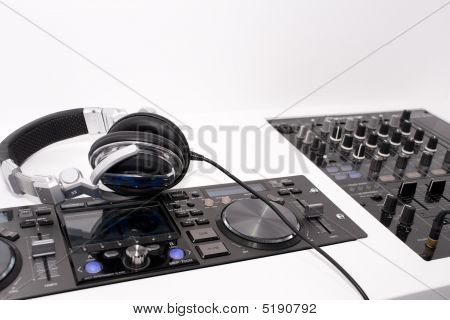 Dj's Mixer And Headphones