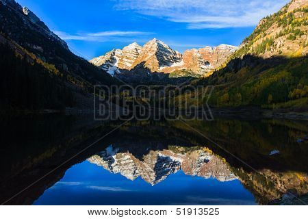 Maroon Bells Sunrise and Lake Reflection in Full Fall Color