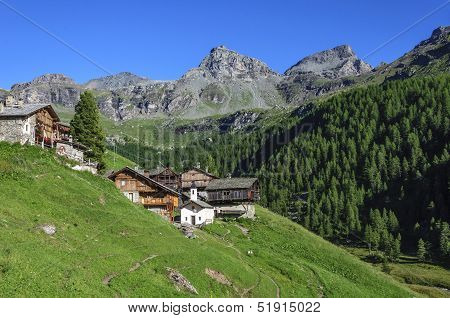 Cuneaz (Aosta Valley - North Italy) Village And Mount Perrin