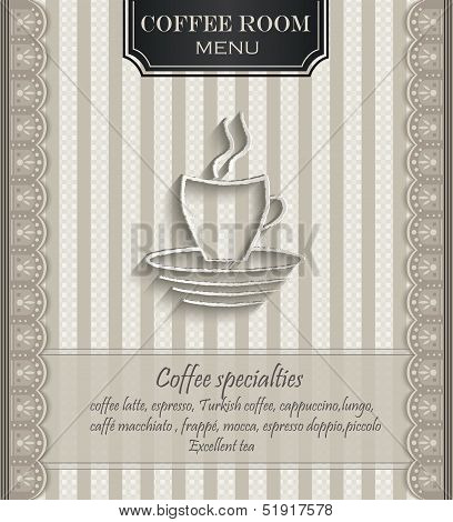 vector Menu for restaurant lace natural paper 3D coffee